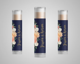 Custom Lip Balm / Gloss / Chapstick Wedding or Party Favor Stickers / Labels with Font to Match Your Invitations or Custom Design | Floral