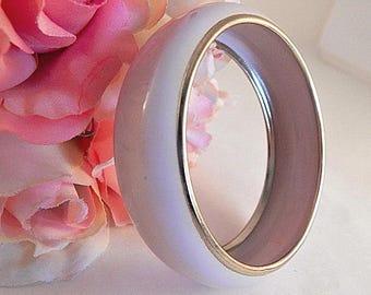 Womens Bracelet Pink and Gold Metal Bangle Enameled Jewelry Vintage 1970s Fashion Jewelry Feminine Pastel Accessory