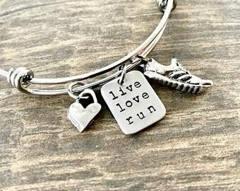 Runner Bracelet, Running Jewelry, Live Love Run, Runners Jewelry, Women Gifts, Marathon, Half Marathon, Ultra, or any Distance, Expandable
