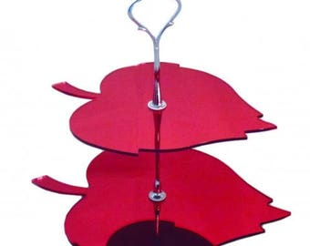 Leaf Shaped Two Tier Silver Rod Acrylic Cup Cake / High Tea Cake Stand - In Various Sizes and Colours