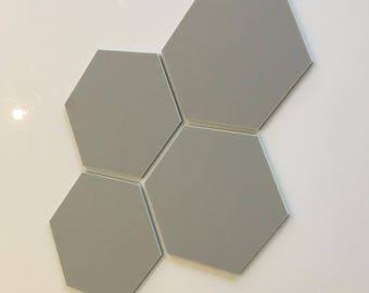 "Light Grey Mat Acrylic Hexagon Crafting Mosaic & Wall Tiles, Sizes: 1cm to 20cm - 1"" to 7.9"""