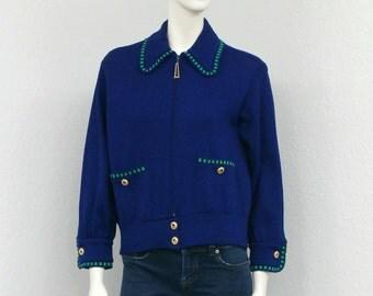 Vintage 80s St. John Navy Cardigan Sweater, Oversized Cardigan, St John Sweater, St John Knit Cardigan, St John Marie Gray