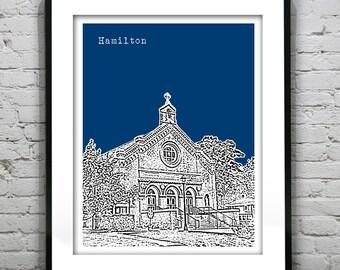 Hamilton Massachusetts Skyline Poster Art Print MA Version 2