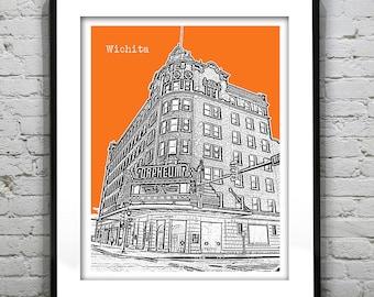 Wichita Skyline Poster Art Skyline Print Kansas KS Version 2