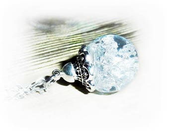 Necklace glass ball filled with resin and sheet metal