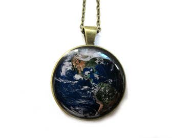 EARTH PENDANT - Earth Jewelry - Earth Necklace - Earth from Space - Ecology Jewelry - Environmental Necklace - Save the Earth Turquoise Blue