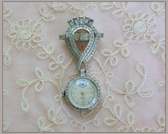 RESERVED for Shiron -  Vintage Rima Swiss Rhinestone Lapel Watch Pin - Mechanical Wind Up Watch Broochf