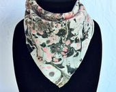 "Pink Panther Marbled Silk Bandana 17"" square"