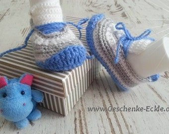 Baby Shoes Sneakers blue white crochet