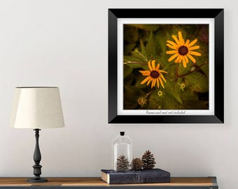 Master Bedroom Decor - Floral Art - Yellow Flower Wall Art - Flower Wall Decor - Nature Print - Rustic Wall Decor - Black Eyed Susan Photo