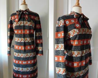 1960s geometric knit dress | 60's Mid Century Mod Op Art | M to L