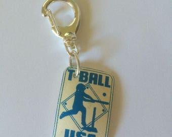 T-Ball key chain, zipper pull, or backpack fob