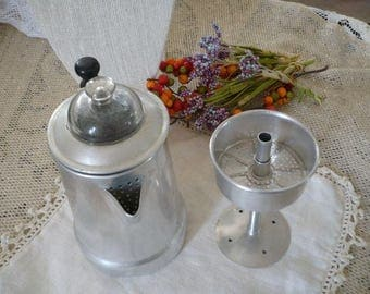 Small Aluminum Coffee Pot Percolator Glass  Top With Inner Basket