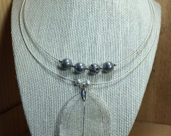 Pyrite and Silver Leaf Collar Necklace