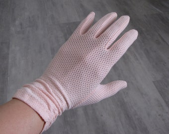 Vintage Women's Pink Short Cloth Gloves