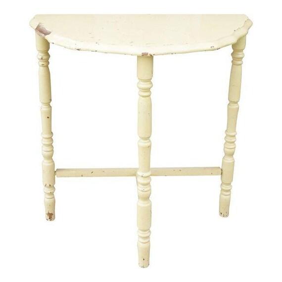 half moon table wood side table small painted table vintage. Black Bedroom Furniture Sets. Home Design Ideas