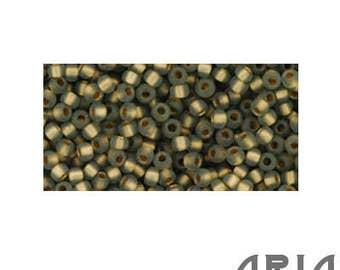 Black DIAMOND RAINBOW GOLD Lined Matte (999F): 11/o Toho Japanese Seed Beads (10 grams)