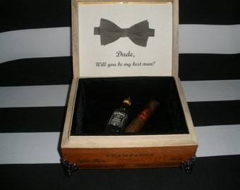 Groomsman, Best Man, Custom Cigar Box Valet, Watch box, Jewelry Box, Stash Box, Tampa, Wedding Party Gift