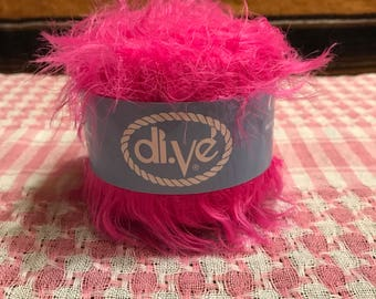 Soft and furry hot pink Dive brand yarn
