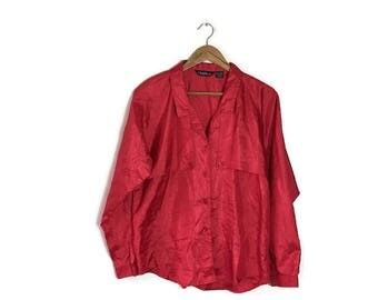 90s red silky blouse / minimalist vintage blouse / working girl / 90s grunge red shirt / silk like red blouse / oversized fit red blouse