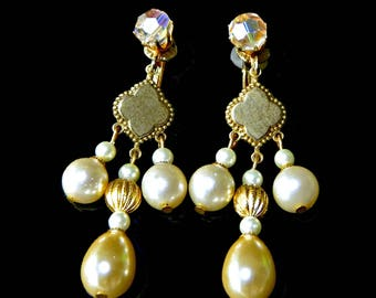 Vendome Earrings Pearl and Crystal Drop Clip On Signed