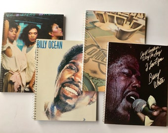 Recycled album cover notebooks. Set of 4. Pointer Sisters, Billy Ocean, Commodores, Barry White