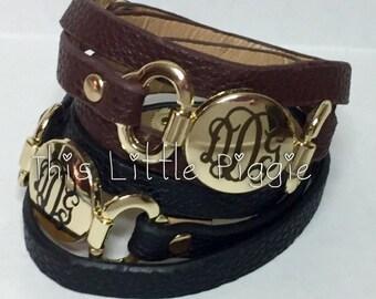 Monogram Multi-Strap Leather Wrap Bracelet