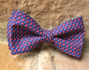 navy blue and red stars bow tie for boys,4th of july bow tie,patriotic