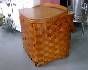 Tall woven split wood picnic basket with hinged lid