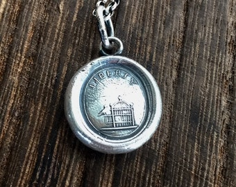Liberty, bird and cage, sterling silver, wax seal inpression, sterling necklace, freedom.