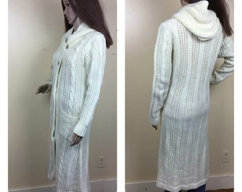 vintage 90s Fishermans knit   cardigan , sweater coat , ivory knubby knit cardigan duster , long jumper    womens sweater