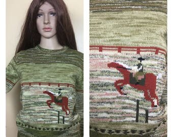 Vintage 70s Sweater ,1970s space dyed  Sweater ,Horse  sweater, hippie equestrian. S
