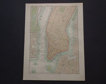 """NEW YORK map of New York city 1884 original old antique print about Manhattan NY - inset central park plan -  21x27c 8x11"""""""