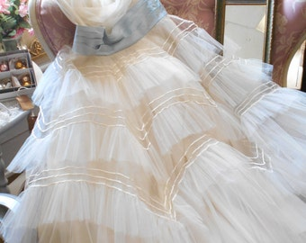 Heavenly 1950's White Prom/Party Dress - Mounds of Tulle, Pale Blue Satin Sash/Waistband - Shabby Chic Couture