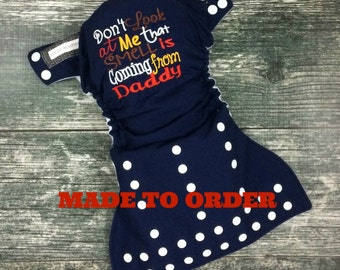 One size pocket diaper / humorous embroidery / cloth diaper / Little Beasties / adjustable elastic & leg gussets / embroidered diaper