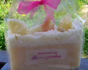 Flower Garden Soap with Butterflies & Leaves. Birthday. Gift Soap. Artisan Soap. Spring Soap. New Mom. Handmade in UK.