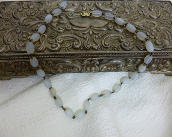 MOONSTONE Bead Necklace, Set on Chain, Art Nouveau Clasp Closure, Vintage 20s