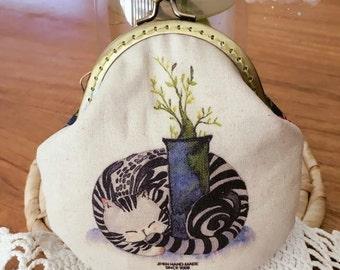 Cozy Cat handmade vintage coin purse/purse/jewellery bag