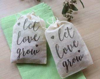 50 Let Love Grow - Muslin Favor Bags - Wedding Favors