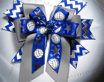 Volleyball Bow -  Royal Blue & Silver Chevron Spikes with Gray Bow topped with a Bow of  White and Silver Metallic Volleyballs on Royal Blue