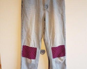 Crochet patch MOM Jeans W26 L36