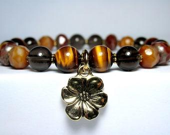 Tiger Eye Charm Bracelet, Flower Charm Bracelet, Czech Glass Bracelet, Smoky Quartz Bracelet, Boho Bracelet, Nature Bracelet, Gift for Her
