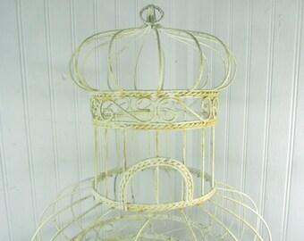 Vintage Birdcage, shabby chic decor, bird cage, bird house, metal birdcage, wedding decor, cottage decor, wire birdcage