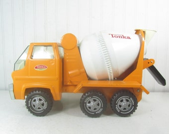 TONKA CEMENT TRUCK, Toy Truck, Orange and White Truck, vintage toy, metal truck,