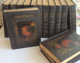 First Edition Little Journeys Elbert Hubbard 1928 Roycrofters set 14 Leather bound volumes, 1920's Mission style, Arts and Crafts Movement