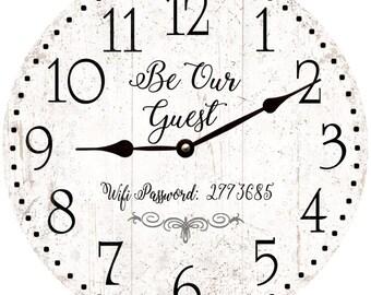 Guest Room Clock- Wifi Password Guest Room Wall Clock
