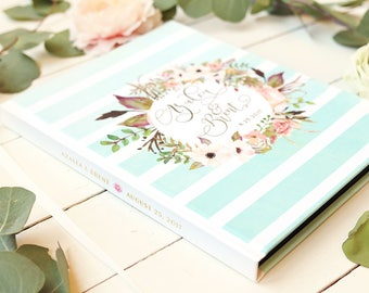 Boho Gold Wedding Guestbook • Modern Watercolor Stripes Custom Guest Book • Real Gold Foil • 8 x 10 - Azalea