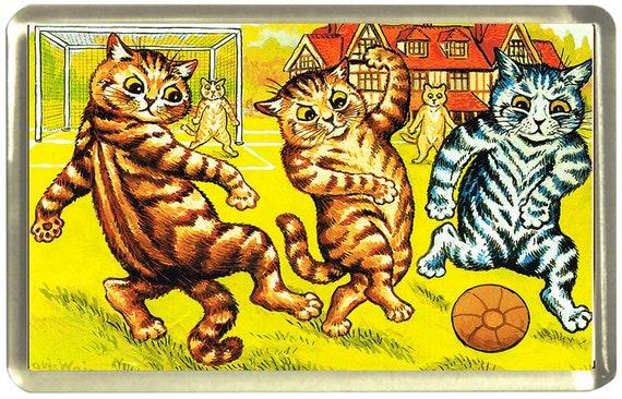 Louis Wain Football Cats Fridge Magnet 7cm by 4.5cm