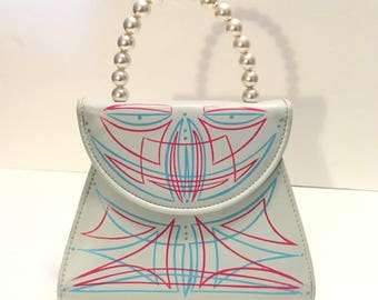 1950s Vintage Style Purse / Pearl Evening Bag / Hand Painted