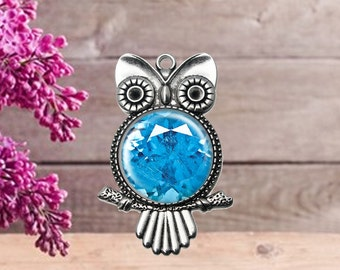 Blue Gemstone Owl Pendant